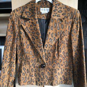 Bloomingdale's Leopard Sueded Jacket Blazer